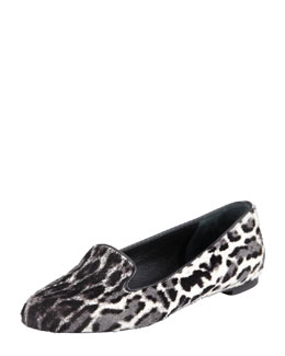 Alexander McQueen Leopard-Print Calf Hair Smoking Slipper, Black/White