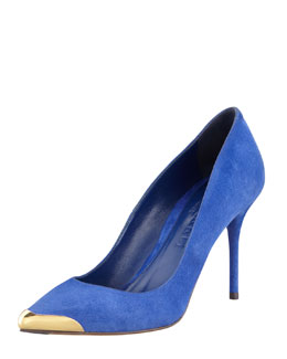 Alexander McQueen Pointed Metal-Toe Suede Pump, Royal Blue