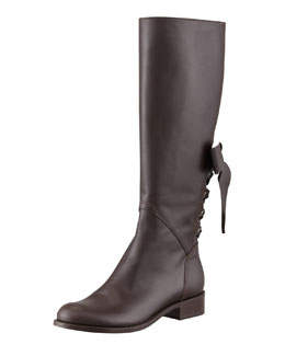 Valentino Ascot Ribbon Lace-Up Riding Boot