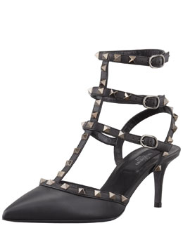 Valentino Rockstud Napa Leather Sandal, Nero