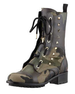 Valentino Camo Leather & Canvas Combat Boot, Army Green
