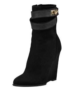 Givenchy Suede Shark-Lock Wedge Ankle Boot