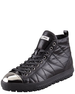 Miu Miu Quilted Cap-Toe High-Top Sneaker