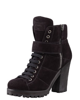 Prada Linea Rossa Lace-Up Ankle Boot, Nero