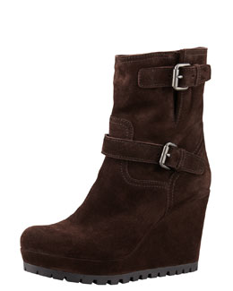 Prada Linea Rossa Double Buckle Suede Wedge Boot, Brown