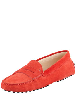 Tod's Suede Gommini Moccasin, Poppy Red