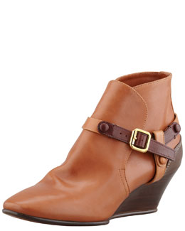 Chloe Low Wedge Bootie with Contrast Harness, Tan