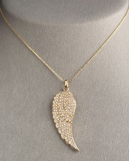 Sydney Evan Angel Feather Necklace, Yellow Gold