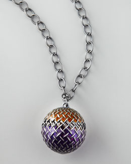 Bottega Veneta Woven-Ball Pendant Necklace