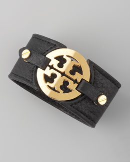 Tory Burch Logo Double-Snap Cuff, Black