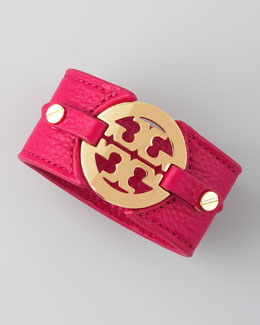 Tory Burch Logo Double-Snap Cuff, Raspberry