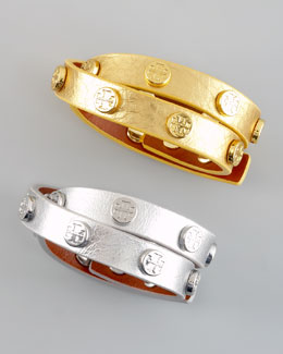Tory Burch Metallic Logo-Studded Bracelet