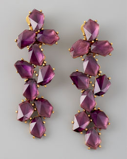 Oscar de la Renta Clustered Crystal Drop Earrings, Purple