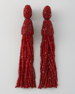 Oscar de la Renta Beaded Tassel Earrings, Garnet