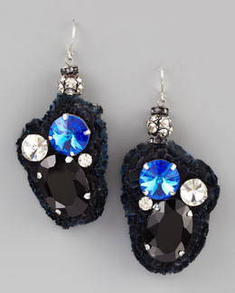 Donna Karan Multi-Crystal Fabric-Backed Earrings