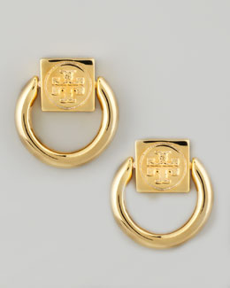 Tory Burch Varden Door-Knocker Earrings, Golden