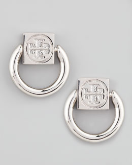 Tory Burch Varden Door-Knocker Earrings, Silver
