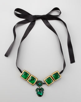 Marni Crystal-Drop Ribbon Necklace