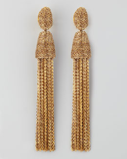 Oscar de la Renta Chain Tassel Earrings, Golden