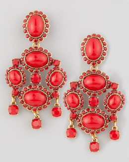 Oscar de la Renta Cabochon Drop Clip Earrings, Red