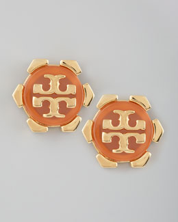 Tory Burch Walter Logo Stud Earrings, Carnelian