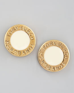 Tory Burch Cole Logo Stud Earrings, Ivory