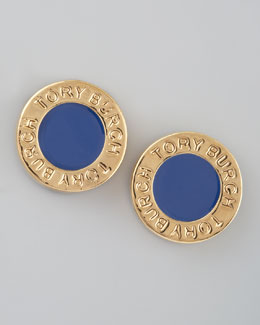 Tory Burch Cole Logo Stud Earrings, Blue