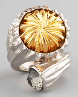Yves Saint Laurent Mixed-Metal Snail Ring