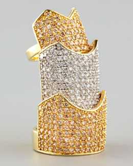 Eddie Borgo Pave Hinged Ring, Gold/Silver