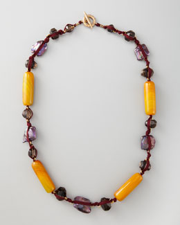 Stephen Dweck Knotted Long Multi-Stone Necklace, Purple