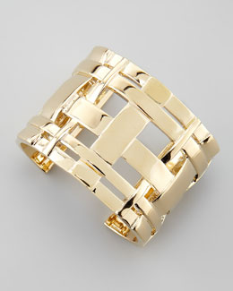 Tory Burch Gold-Plated Gingham Cuff