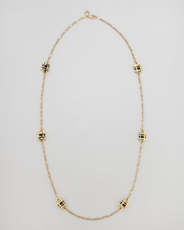 Tory Burch Gold-Plated Gingham Necklace