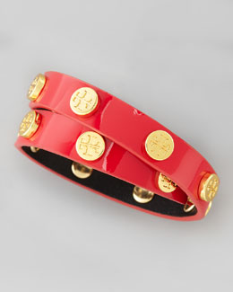 Tory Burch Logo-Studded Patent Wrap Bracelet, Lobster