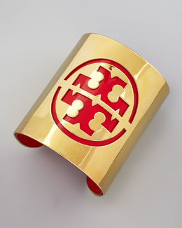 Tory Burch Leather Stencil Logo Cuff, Lobster