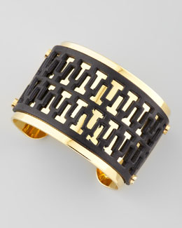 Tory Burch T-Perforated Leather Cuff, Black