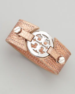 Tory Burch Metallic Logo Double-Snap Cuff, Salmon