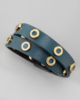 Tory Burch Cole Logo-Studded Leather Wrap Bracelet, Teal
