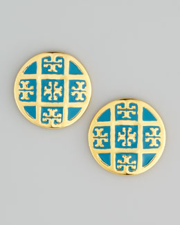 Tory Burch Enamel T-Logo Stud Earrings, Blue