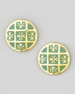 Tory Burch Enamel T-Logo Stud Earrings, Green