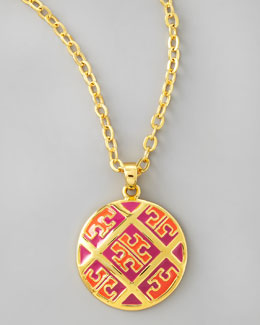 Tory Burch Enamel T-Pattern Pendant Necklace, Orange/Pink