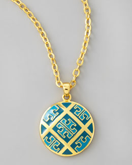 Tory Burch Enamel T-Pattern Necklace, Blue
