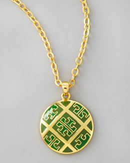 Tory Burch Enamel T-Pattern Pendant Necklace, Green
