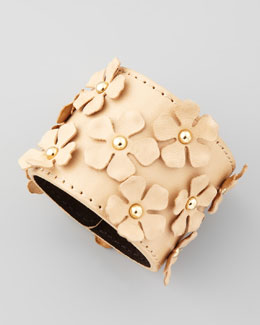 Tory Burch Flower-Embellished Bracelet, Brown