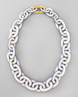 Tory Burch Painted-Edge Resin Link Necklace