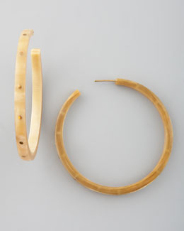 Ashley Pittman Pande Zote Hoop Earrings, Light Horn