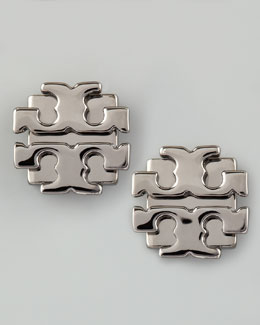 Tory Burch Large T-Logo Stud Earrings, Gunmetal