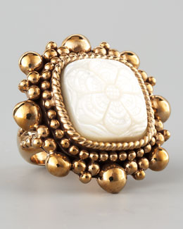 Stephen Dweck Floral-Carved Mother-of-Pearl Ring