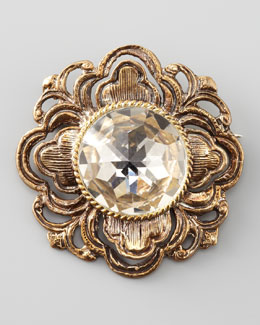 Stephen Dweck Crystal-Center Filigree Brooch