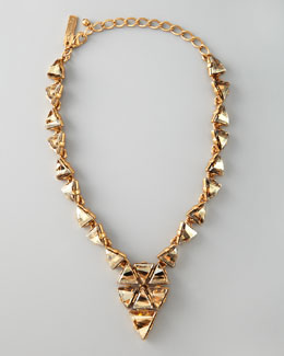 Oscar de la Renta Triangle Cluster Necklace, Golden