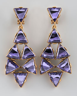 Oscar de la Renta Triangle Cluster Clip Earrings, Purple